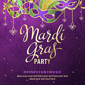An invitation to the Mardi Gras Masquerade Party with colorful masks on the deep purple colored background