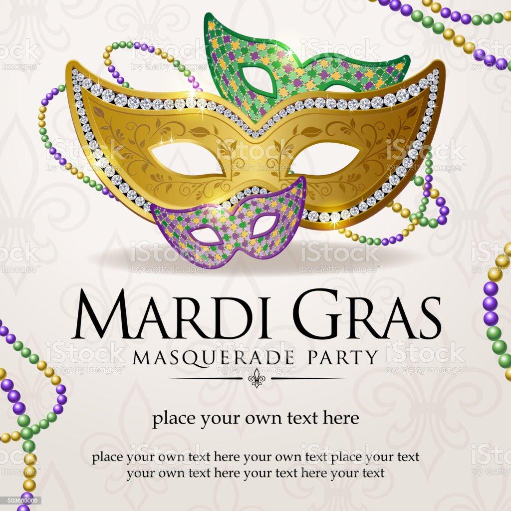 Aviso de baile de máscaras de Mardi gras - ilustração de arte em vetor