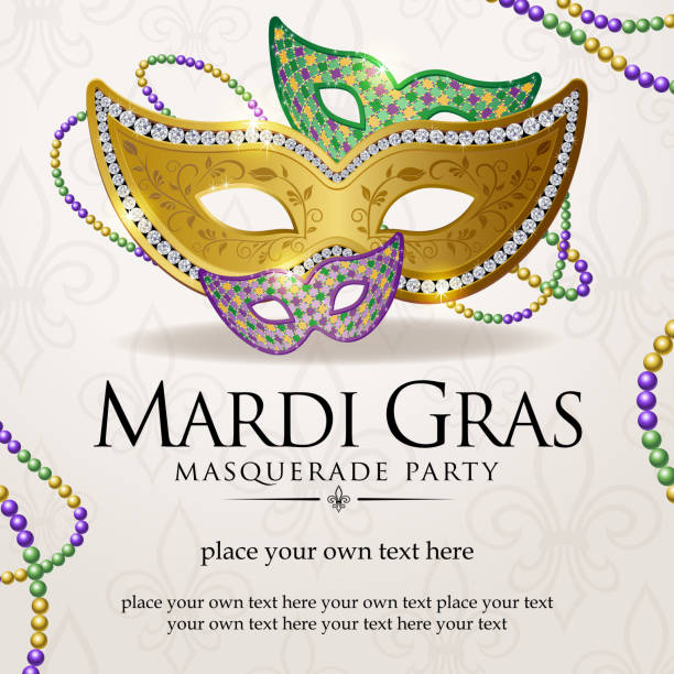 mardi gras masquerade party notice - mardi gras stock illustrations, clip art, cartoons, & icons