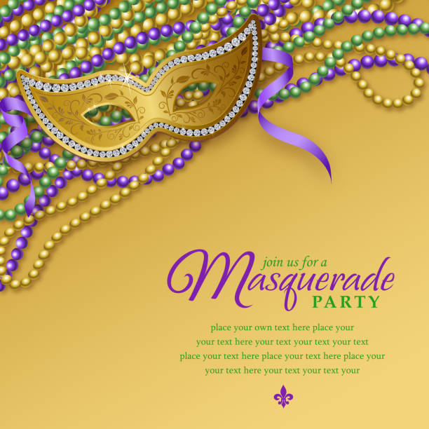 mardi gras masquerade party notice - bead stock illustrations, clip art, cartoons, & icons