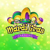 Mardi Gras jester hat and maraca symbol.
