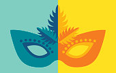Vector illustration of a colorful Mardi Gras mask. Can be used for a costume party, New Orleans and Mardi Gras, Venetian or Brazilian Carnival.