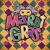 Mardi Gras fat tuesday party background concept with mask, confetti, tokens, beads and patterned background. EPS 10 file. Transparency effects used on highlight elements.
