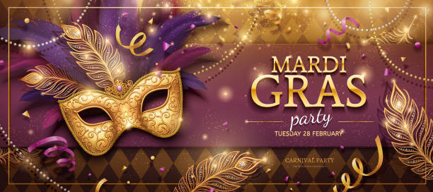 Mardi Gras party banner Mardi Gras party banner design with golden masks and purple feathers in 3d illustration mardi gras stock illustrations