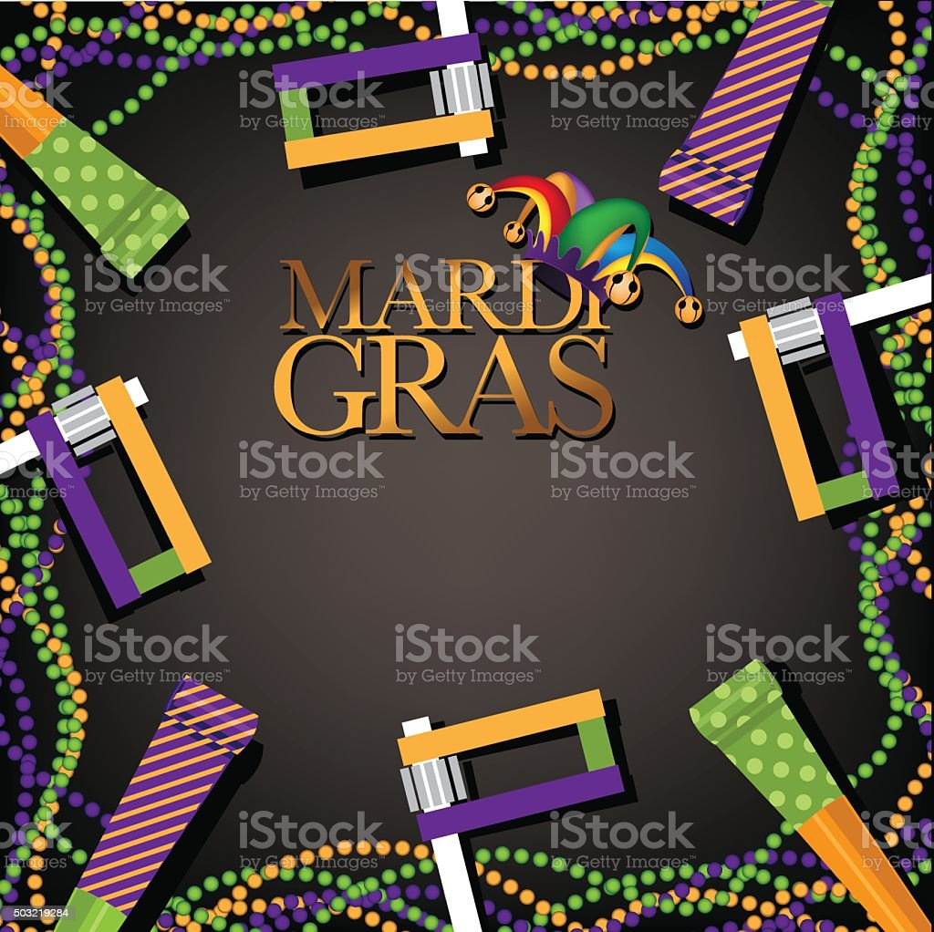 Mardi Gras party favor, noisemaker and beads background vector art illustration