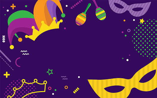 Mardi Gras party greeting card set or invitations. Carnival background for traditional holiday or festival with masks and traditional items
