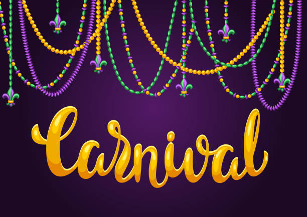Mardi Gras party greeting or invitation card. Mardi Gras party greeting or invitation card. Carnival background for traditional holiday or festival. bead stock illustrations