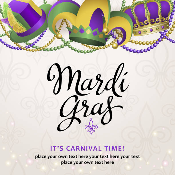 mardi gras party hats - mardi gras stock illustrations, clip art, cartoons, & icons