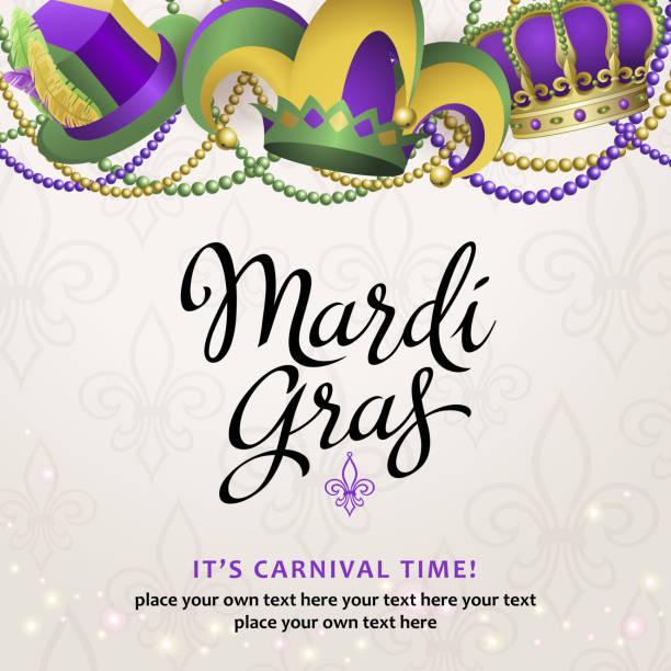ilustrações, clipart, desenhos animados e ícones de mardi gras party hats - mardi gras