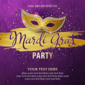 An invitation to the Mardi Gras Masquerade Party with shiny golden mask on the purple colored background