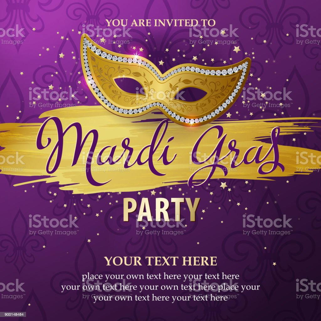 Mardi Gras Party Invitations vector art illustration