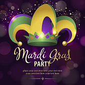 An invitation to the Mardi Gras Party with colorful jester hat on the deep purple colored background