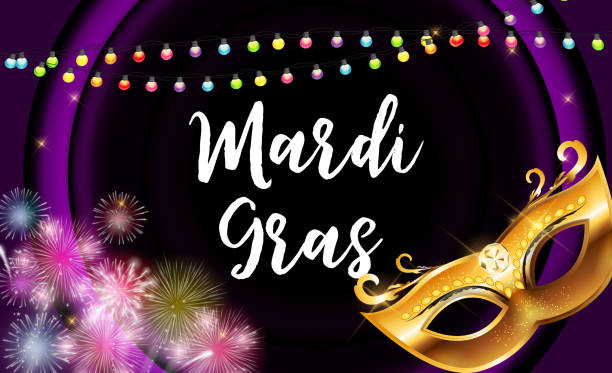 mardi gras party mask holiday poster background. vector illustration - mardi gras cartoons stock illustrations, clip art, cartoons, & icons