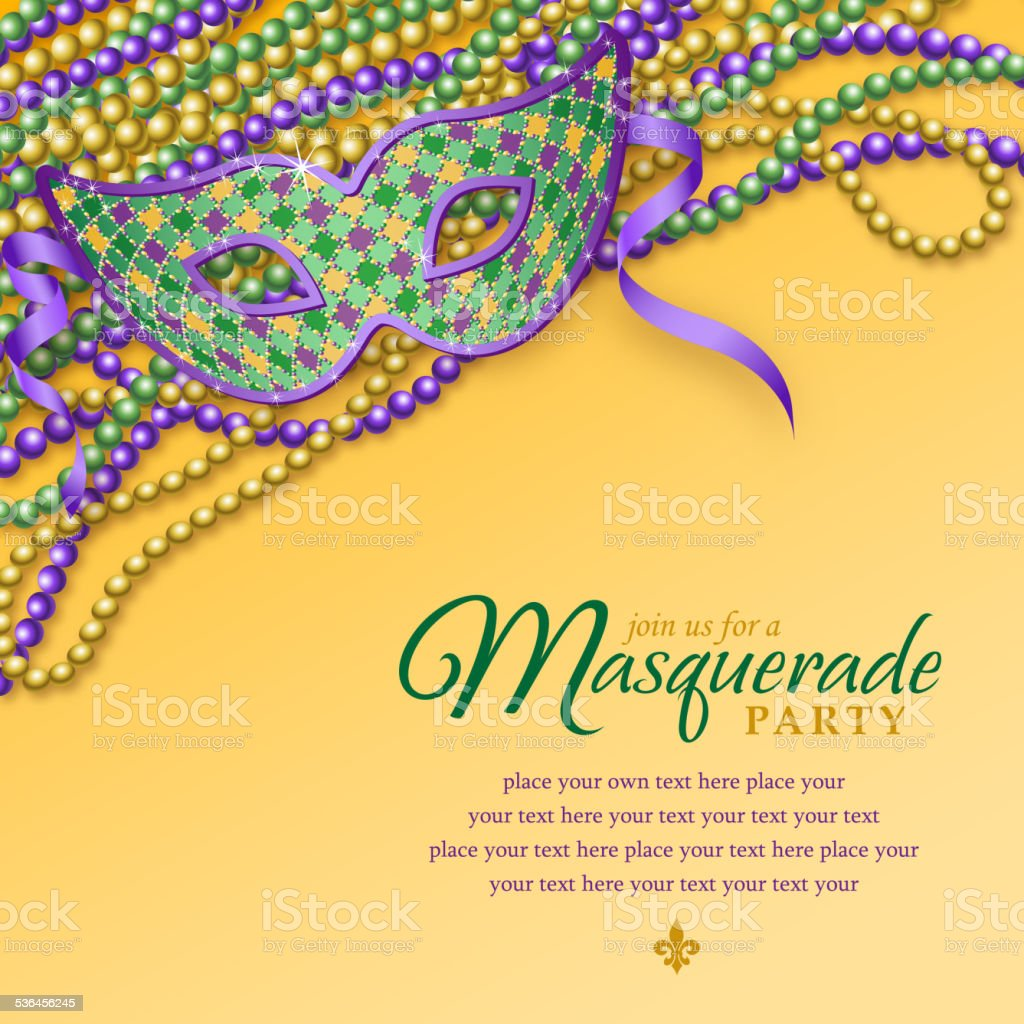 Mardi Gras Party Mask Notice vector art illustration
