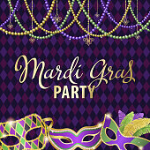 An invitation to Mardi Gras Party with masks and beads decoration on the diamond shape purple background