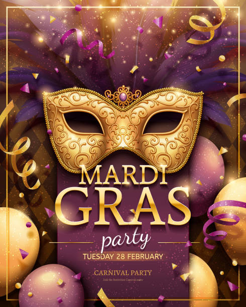 Mardi gras party poster vector art illustration