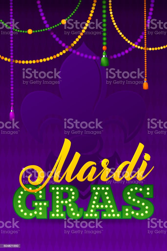 Mardi Gras Party Poster.Calligraphy and Typography Card. Beads T vector art illustration