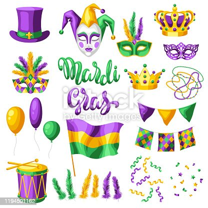 Mardi Gras party set of items. Carnival background for traditional holiday or festival.