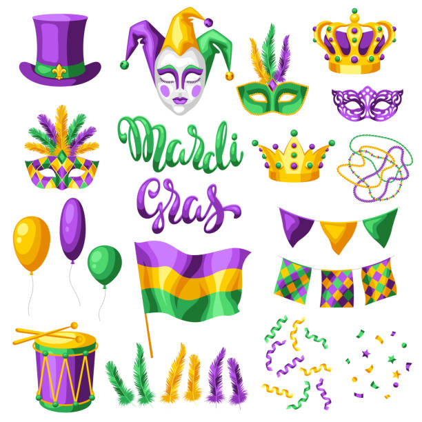 Mardi Gras party set of items. Mardi Gras party set of items. Carnival background for traditional holiday or festival. mardi gras stock illustrations