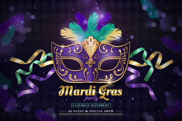 Mardi gras party Mardi gras party design with purple half mask and feathers in 3d illustration on shimmering background mardi gras stock illustrations