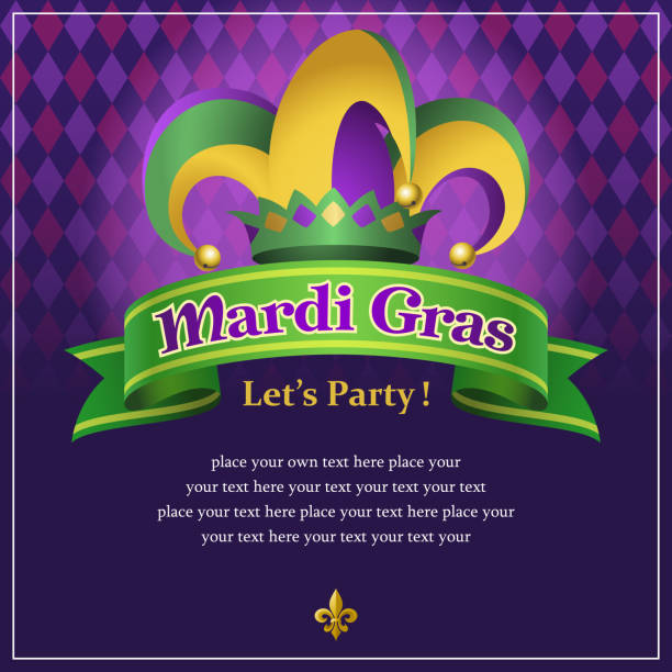 stockillustraties, clipart, cartoons en iconen met mardi gras party - westers schrift