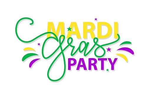 Mardi Gras Party. Vector illustration Handwritten modern brush lettering of Mardi Gras with stars on white background