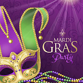 An invitation to the Mardi Gras party with Jester Mask and beads on the shiny purple colored background