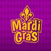 Mardi Gras poster lettering, Fleur de Lis for masquerade carnival