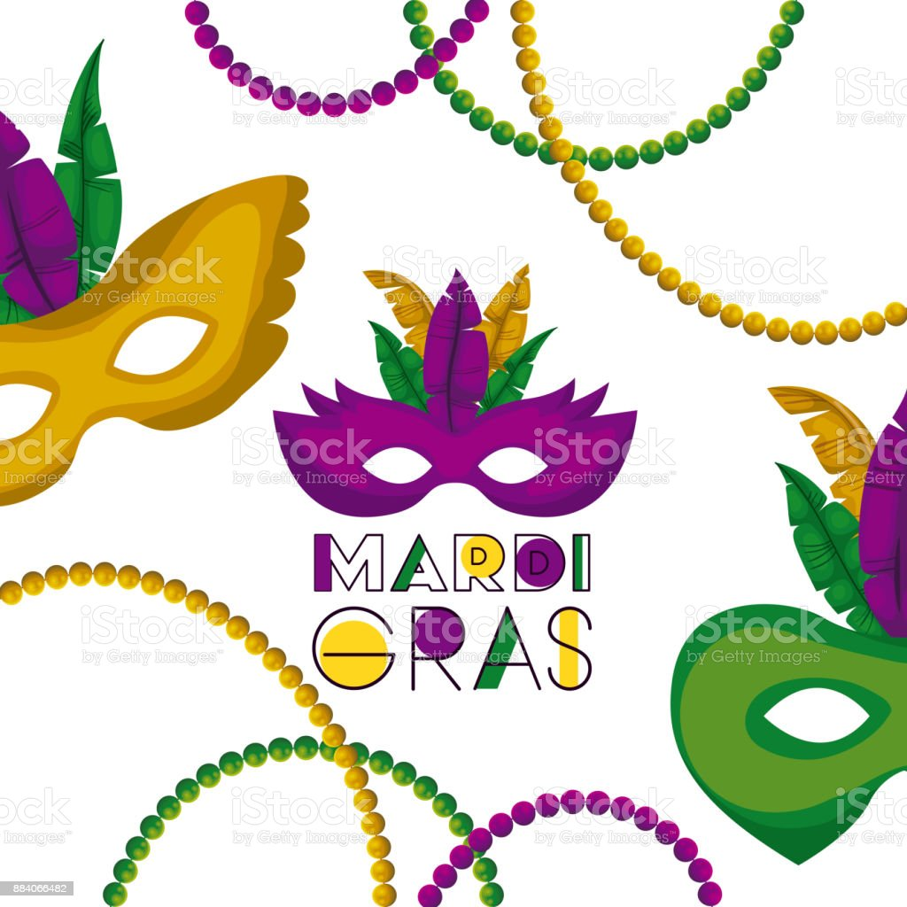 mardi gras poster with several carnival mask with colorful feathers and necklaces over white background vector art illustration