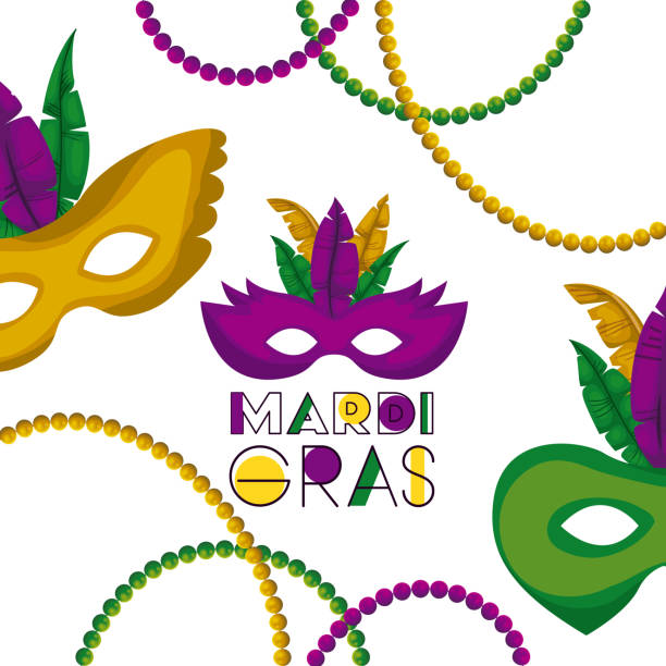 mardi gras poster with several carnival mask with colorful feathers and necklaces over white background - mardi gras stock illustrations, clip art, cartoons, & icons