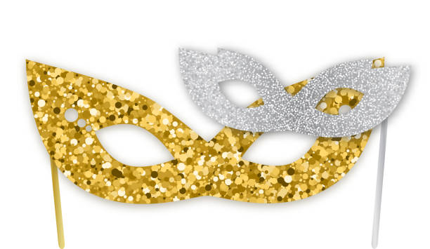 mardi gras, purim gold and silver glitter masks isolated on white background, vector illustration. realistic sparkling mask, graphic design elements for banners, flyers, party invitations. - purim stock illustrations, clip art, cartoons, & icons