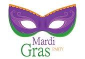 Mardi Gras purple carnival mask with ornaments