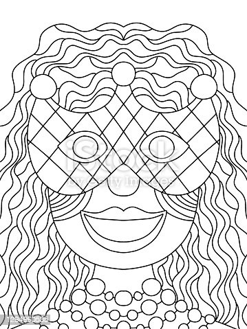 Mardi Gras queen coloring page stock vector illustration. Symmetry smiling woman in half mask printable coloring page for kids and adults. Venetian mask girl with curly hair portrait. One of a series