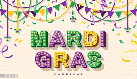 Mardi Gras banner with typography design. Vector illustration with retro light bulbs font, streamers, confetti and hanging garlands.