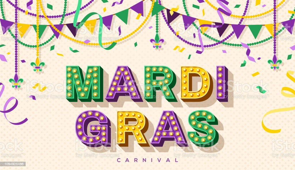 Mardi Gras retro typography design vector art illustration