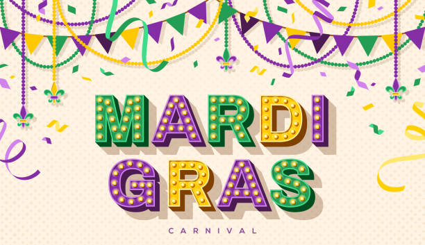 Mardi Gras retro typography design Mardi Gras banner with typography design. Vector illustration with retro light bulbs font, streamers, confetti and hanging garlands. mardi gras stock illustrations