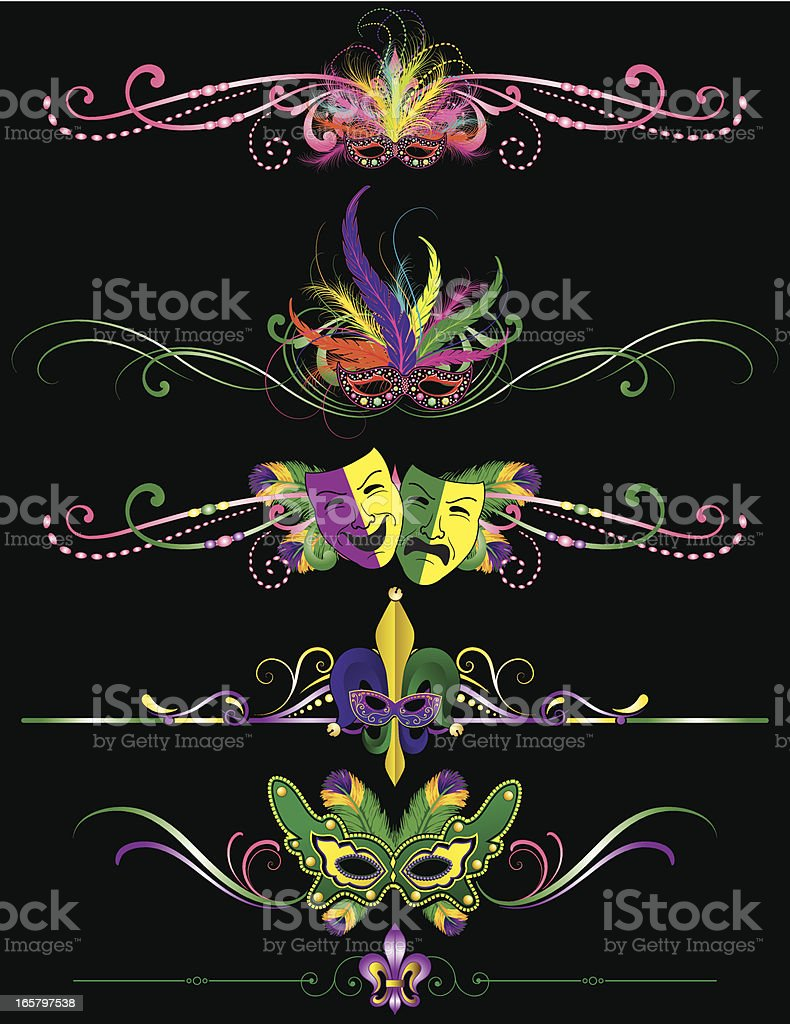 Mardi Gras Rule Lines for carnival in New Orleans royalty-free stock vector art