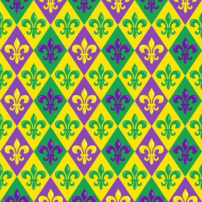 Mardi Gras seamless pattern with colorful heraldic lilyes; for wrapping paper, greeting cards, posters, banners.