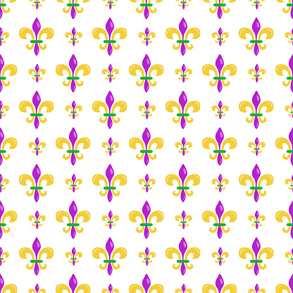 Mardi Gras seamless pattern with heraldic lilyes in traditional colors; for wrapping paper, greeting cards, posters, banners.