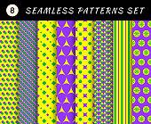 Mardi gras seamless patterns. Carnival backgrounds