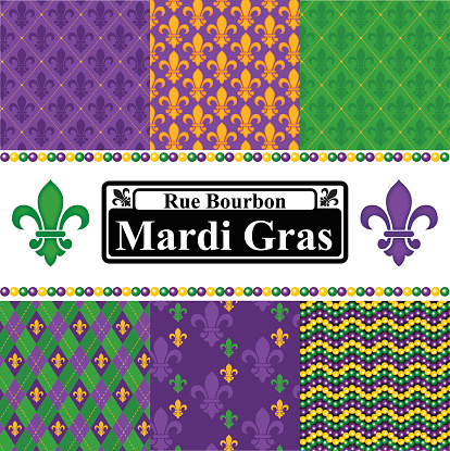 Mardi Gras Seamless Patterns Set