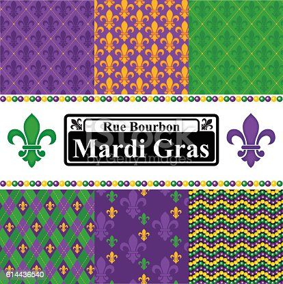 A collection of seamless vector patterns in a Mardi Gras theme. Six seamless patterns included, plus a