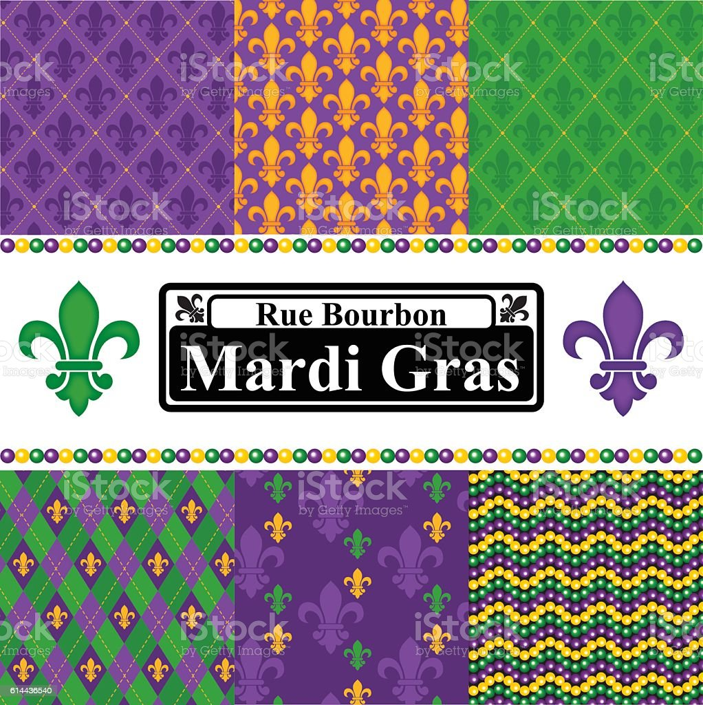 Mardi Gras Seamless Patterns Set vector art illustration