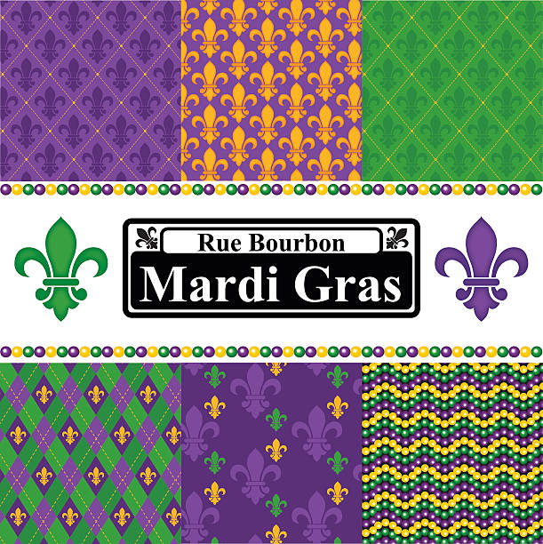 Mardi Gras Seamless Patterns Set - ilustración de arte vectorial
