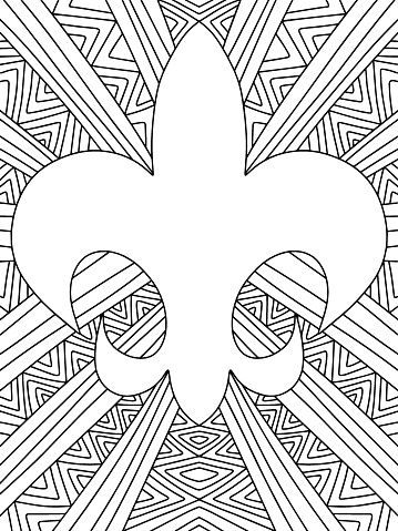 Mardi Gras stylised lily coloring page stock vector illustration