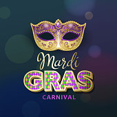 An invitation to the masquerade party for the Mardi Gras with party mask and metallic typography on the blue and purple colored background