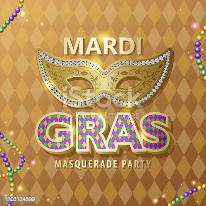 An invitation to the masquerade party for the Mardi Gras with party mask, metallic typography and bead decoration on diamond shaped pattern