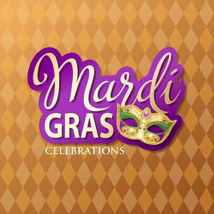 Mardi Gras Typography & Mask