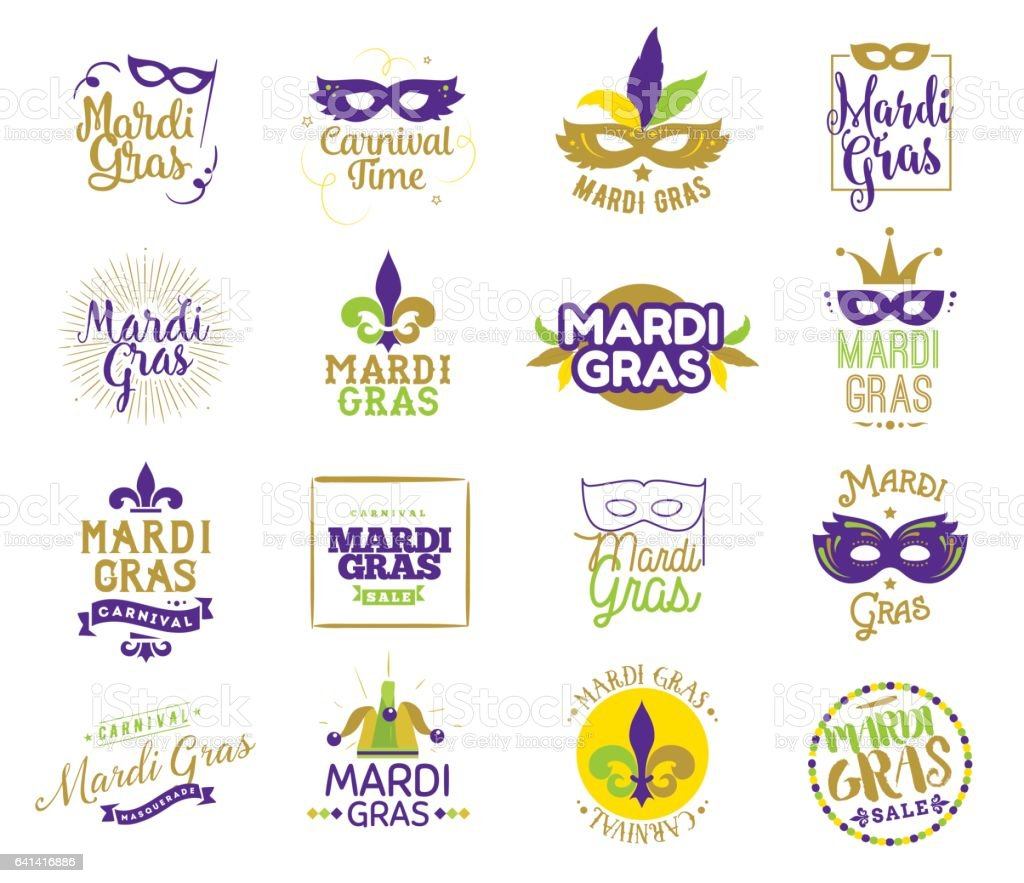 Mardi Gras typography set. vector art illustration