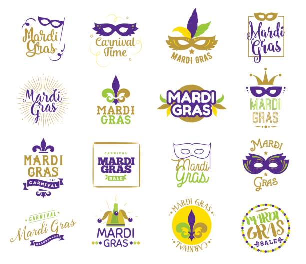 Mardi Gras typography set. Mardi Gras typography set. Vector emblems, logo with text. Usable for greeting cards, banners, gift packaging. Fat tuesday, carnival. Isolated elements. mardi gras stock illustrations